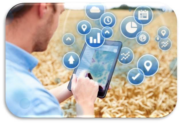 Imagen de agricultor monitorizando datos a través de una tablet