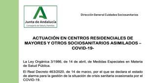 Actuación en Centros Residenciales de Mayores y otros Sociosanitarios asimilados – COVID-19-