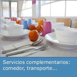 Servicios complementarios: comedor, transporte...