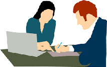 Pictograma de dos dibujos, hombre y mujer, en una reunión
