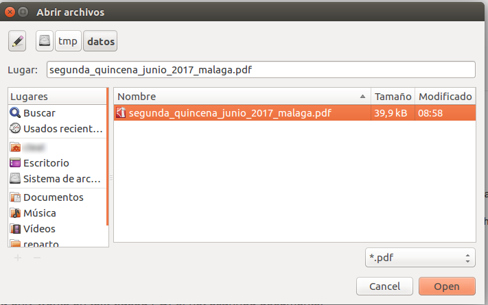 Tabula - abrir archivos