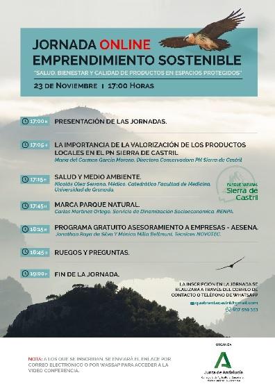 Jornada online Emprendimiento Sostenible 'Salud, bienestar y calidad de productos en espacios protegidos'