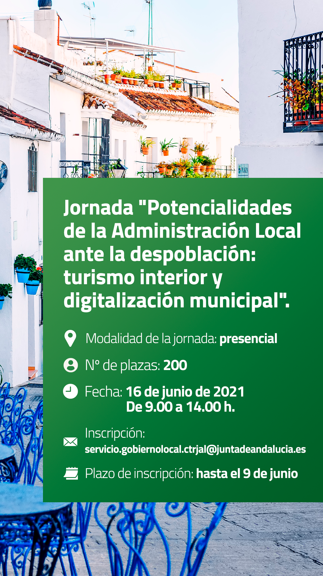 """Jornada """"Potencialidades de la Administración Local ante la despoblación: turismo interior y digitalización municipal""""."""