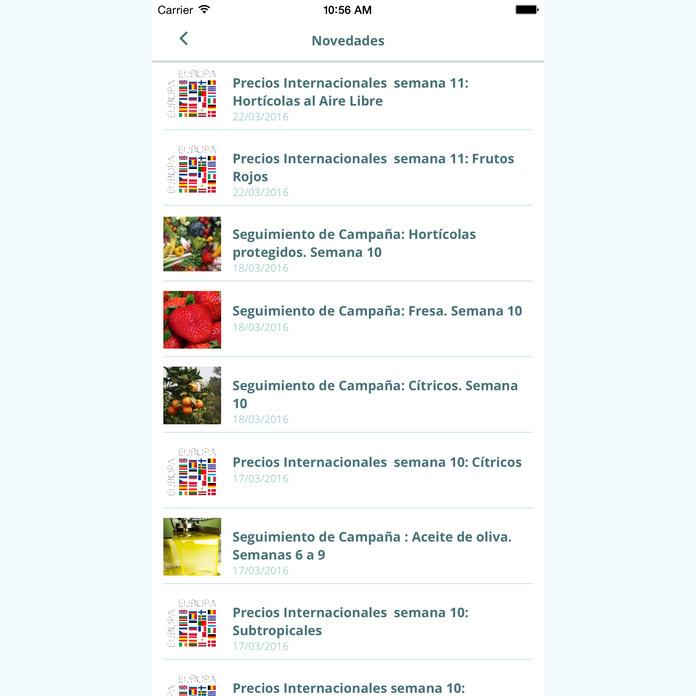 Captura de pantalla de la aplicación Observatorio de Precios y Mercados 2