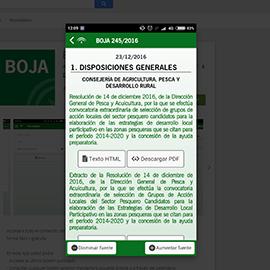 Captura de pantalla de la aplicación BOJA Boletín Oficial Andalucía 2