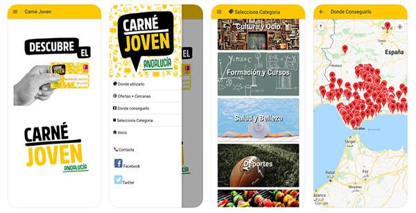 Capturas de pantalla de la app 'Descuentos CJ'