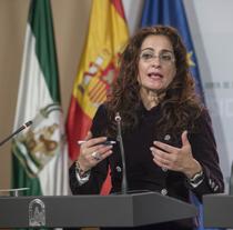 La consejera de Hacienda y Administración Pública, María Jesús Montero, durante su comparecencia.