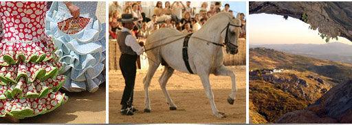 Tres imagenes: vestidos de flamenca, rejoneador con caballo y vista panorámica de la sierra
