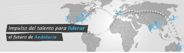 Mapa del mundo con la leyenda: Impulso del talento para liderar el futuro de Andalucía