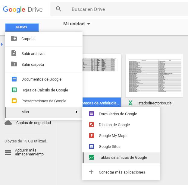 Abrir tablas dinámicas en Google Drive