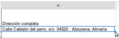 Captura de Google Hojas de Cálculo con celda activada.
