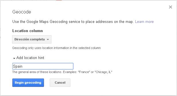 Menú Geocode en Tablas Dinámicas de Google