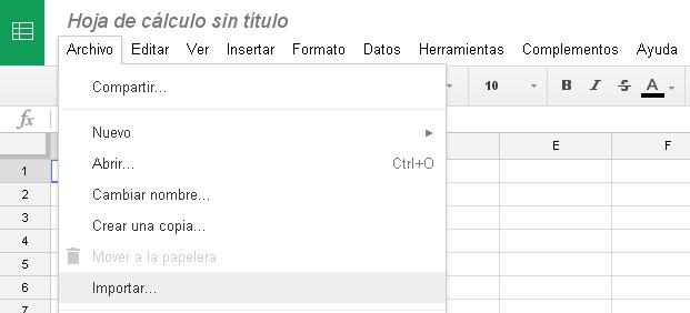 Menú Archivo en Google Hojas de Cálculo