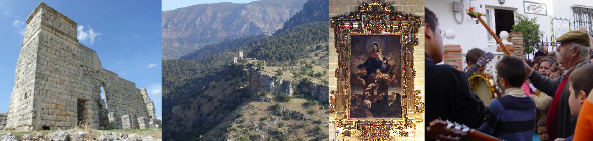 Ciudad romana de Acinipo / Zona Patrimonial de Otíñar / Virgen del Rosario de la catedral de Málaga / Fiesta de Verdiales