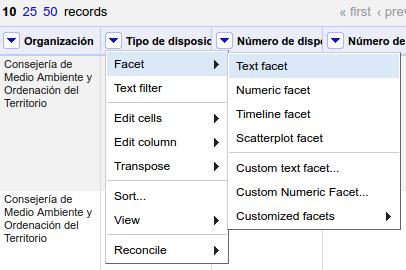Crear faceta de texto en OpenRefine