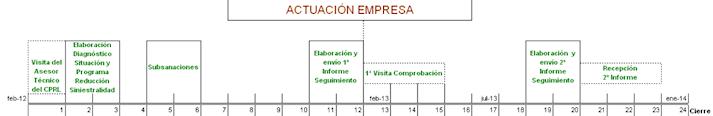 diagrama explicativo de las actividades que debe realizar la empresa a lo largo de los meses que dura Paemsa