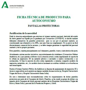 documento técnico con instrucciones específicas para la producción de las pantallas faciales de protección de los profesionales sanitarios