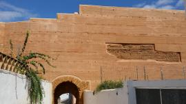 Estado final de la cara interior del paramento de tapial en el que se encuentra el Postigo del Agujero de la muralla de Niebla (jpg,1,96 KB)