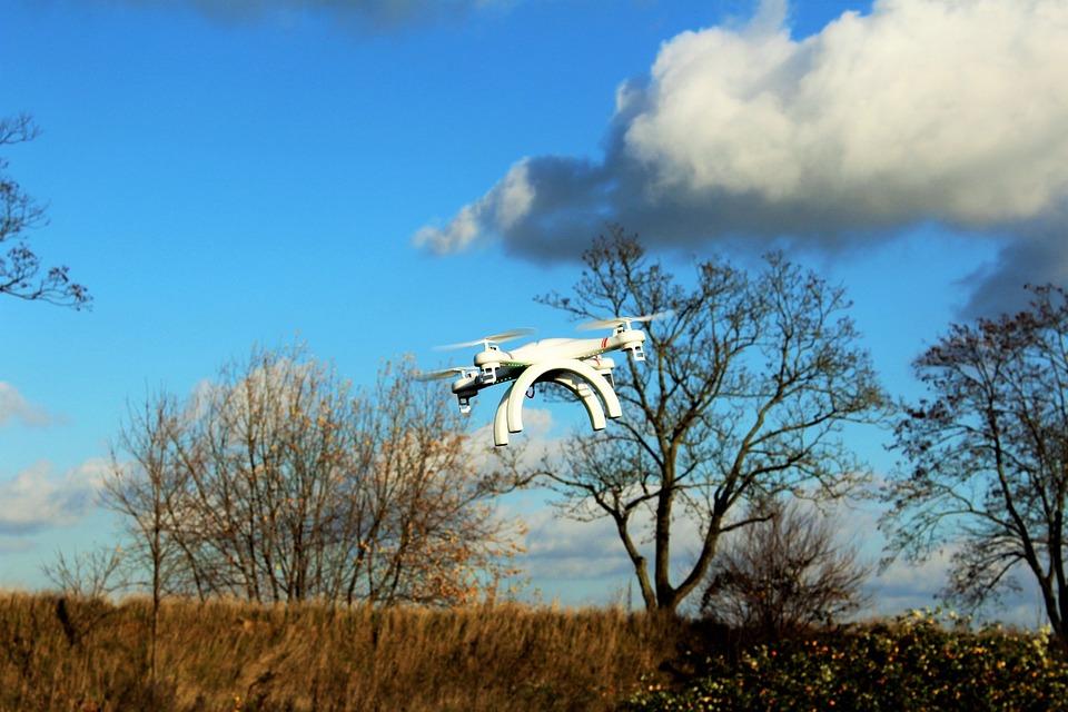 Imagen de dron sobrevolando cultivos