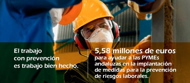 Imagen de obrero con uniforme y mascarilla con el lema El trabajo con prevención es un trabajo bien hecho. 5,58 millones de euros para ayudar a las PYMEs andaluzas