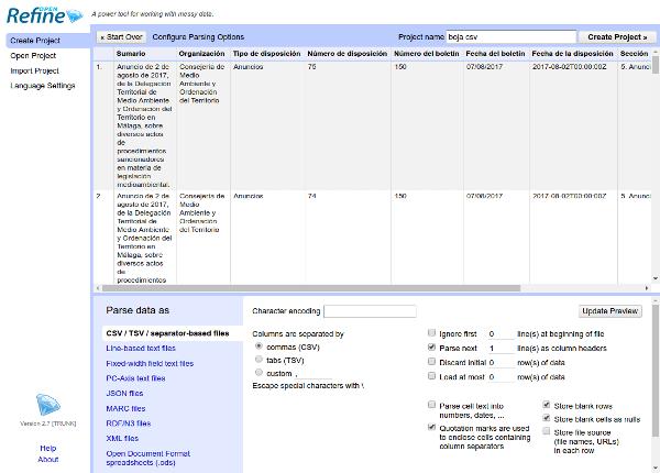 Importar conjunto de datos en OpenRefine