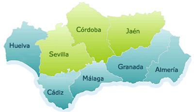 Mapa provincias marítimas de Andalucía