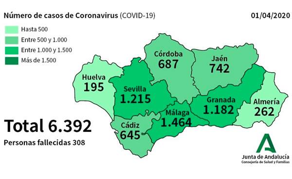 Casos de coronavirus COVID-19 en Andalucía.