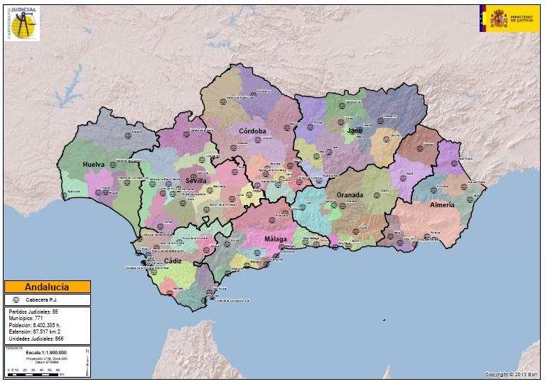 Mapa de los partidos judiciales en Andalucía