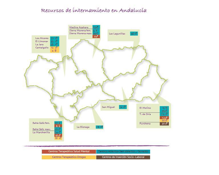 Recursos de internamiento de menores infractores por provincias en Andalucía