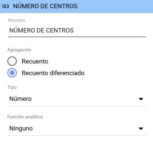 Editar métrica Número de centros en Data Studio