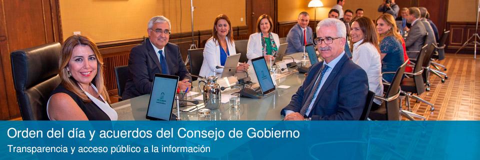 Orden del día y acuerdos del Consejo de Gobierno