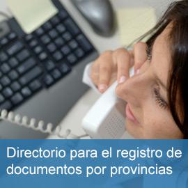 Directorio para el registro de documentos por provincias