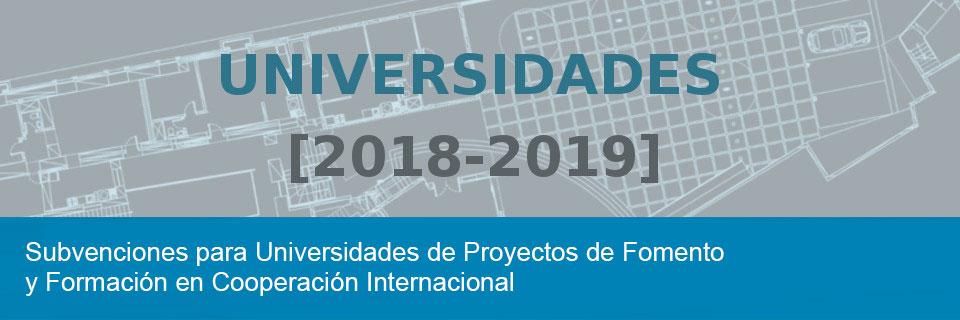 Subvenciones para Universidades de Proyectos de Fomento y Formación en Cooperación Internacional