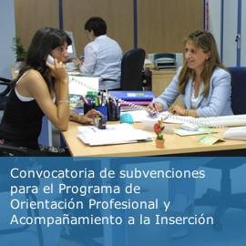 Abierto el plazo para solicitar las subvenciones del Programa de Orientación Profesional y Acompañamiento a la Inserción