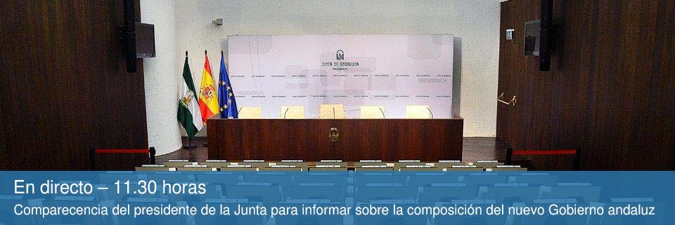 En directo – 11.30 horas. Comparecencia del presidente de la Junta para informar sobre la composición del nuevo Gobierno andaluz