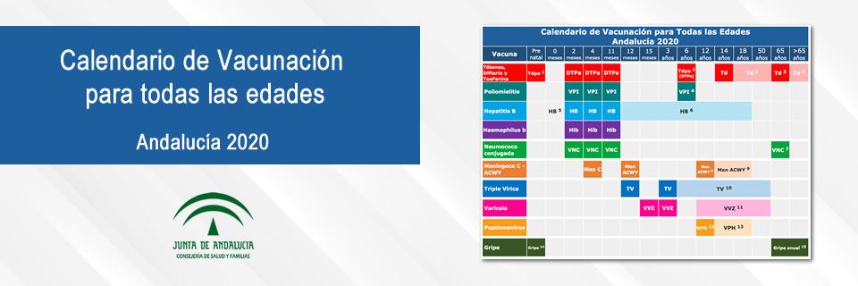 Calendario de Vacunación para todas las edades. Andalucía 2020