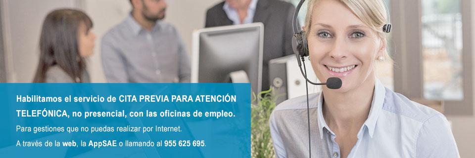 Cita Previa para atención telefónica no presencial con tu oficina de empleo