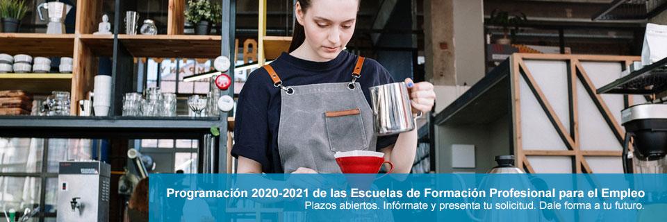 Programación 2020-2021 de las Escuelas de Formación Profesional para el Empleo. Plazos abiertos