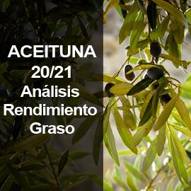 Análisis de rendimiento graso de aceituna en la campaña 2020/2021