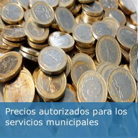 Precios autorizados para los servicios municipales