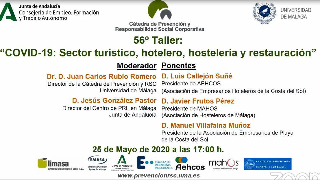 """Taller """"COVID-19: Sector turístico, hotelero, hostelería y restauración"""""""
