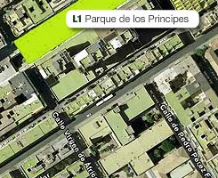 Plano de la estación de Parque de los Príncipes