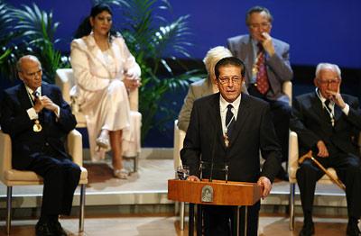 Federico Mayor Zaragoza, durante su discurso en nombre de los galardonados.