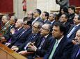 Las autoridades civiles y militares siguen desde la tribuna de          invitados el Pleno Institucional celebrado en el Parlamento de Andalucía con          motivo del 28-F.