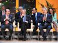 Los consejeros del Gobierno andaluz sonríen en un momento del          discurso del Hijo Predilecto de Andalucía, Juan Antonio Carrillo          Salcedo.