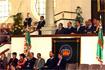 87:El Pr�ncipe, acompa�ado de autoridades regionales y municipales, durante el espect�culo ecuestre en Jerez de la Frontera.
