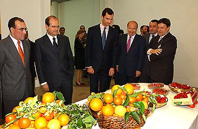 136:El Heredero de la Corona contempla c�tricos y fresas producidos en la provincia de Huelva, durante su visita a la exposici�n de productos onubense en la Casa de Col�n.