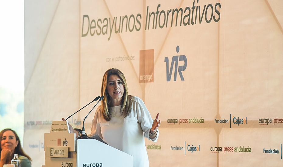 Susana Díaz durante su intervención en un Desayuno Informativo de Europa Press en Sevilla.