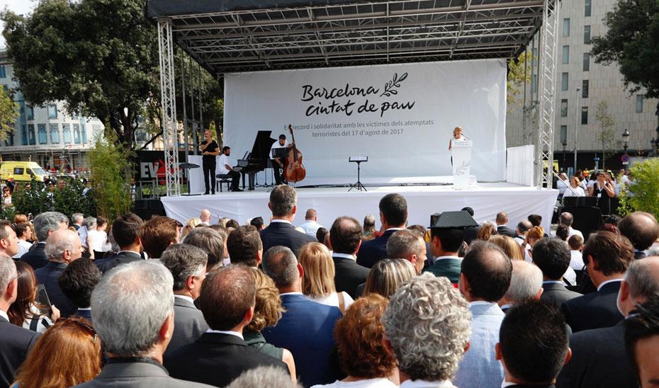 Imagen del acto conmemorativo del primer aniversario de los atentados de Barcelona y Cambrils.