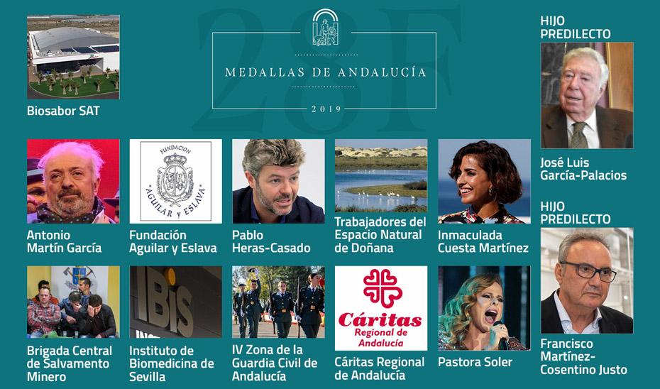 Distinciones de Hijo Predilecto y Medallas de Andalucía aprobadas por el Consejo de Gobierno para 2019.